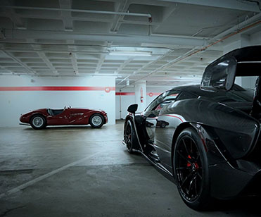 Cars in a garage