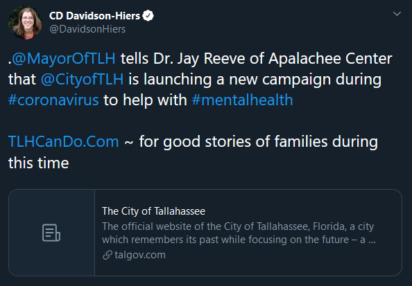Mayor tells Dr. Jay Reeve of Apalachee Center that City is launching a new campaign during coronavirus to help maintain mental health.