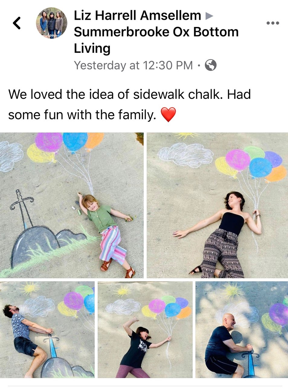 We loved the idea of sidewalk chalk. Had some fun with the family.