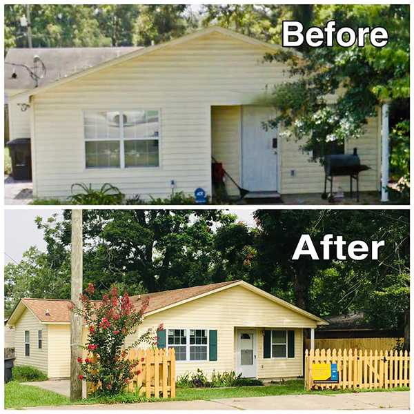 Before and after images of a home improved through this program