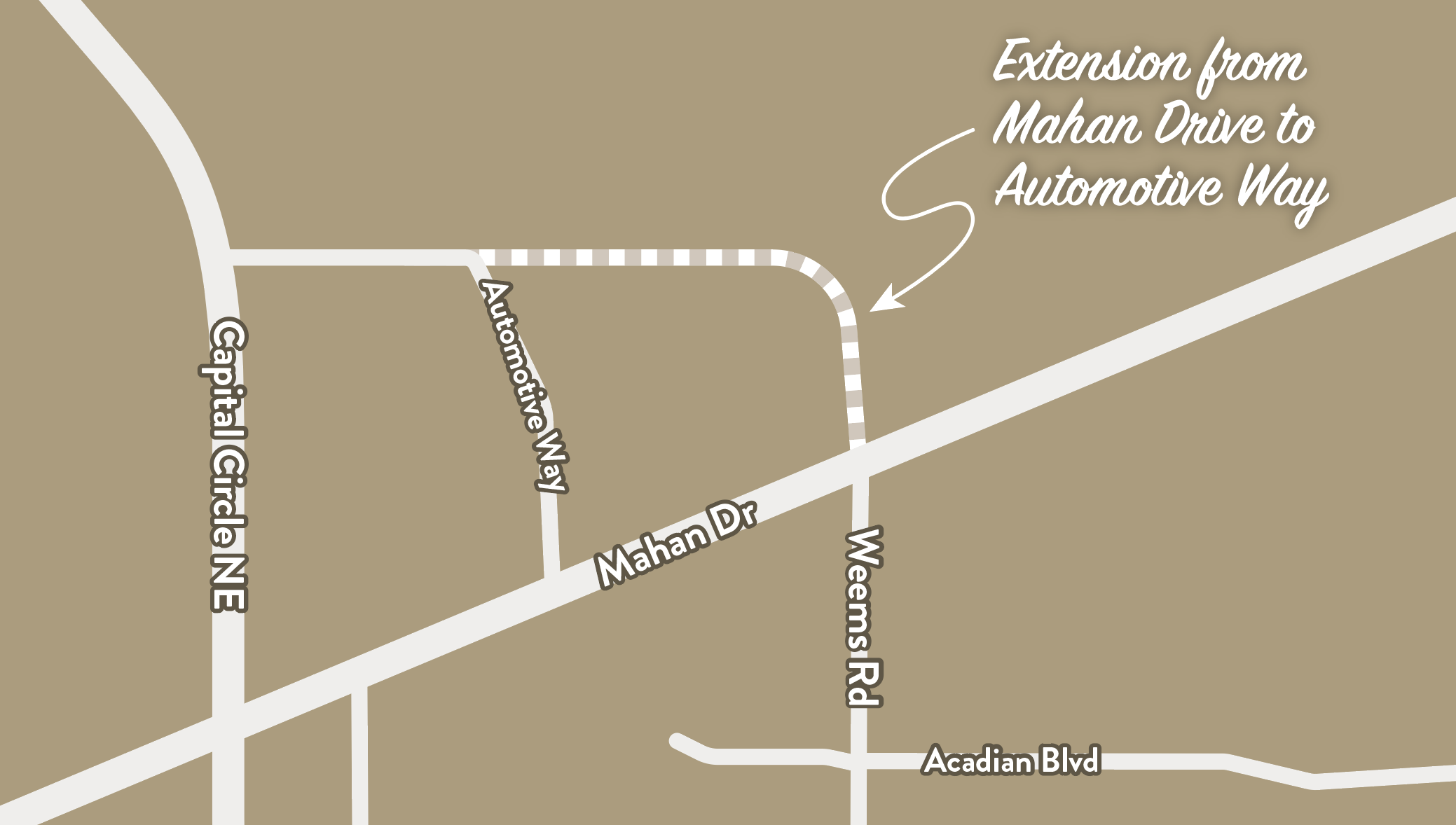 Map of the Weems Road Extension