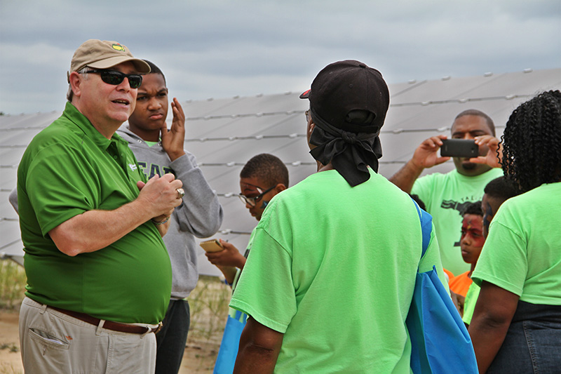 City staff lead a tour of the solar farm.