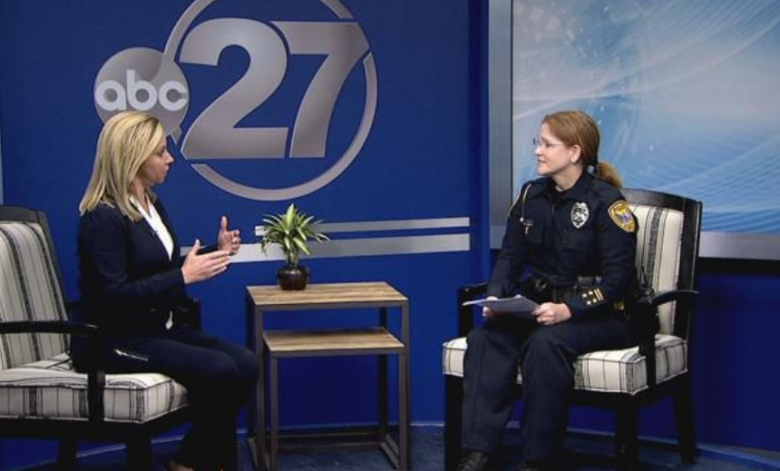 Officer Denmark speaks on television news