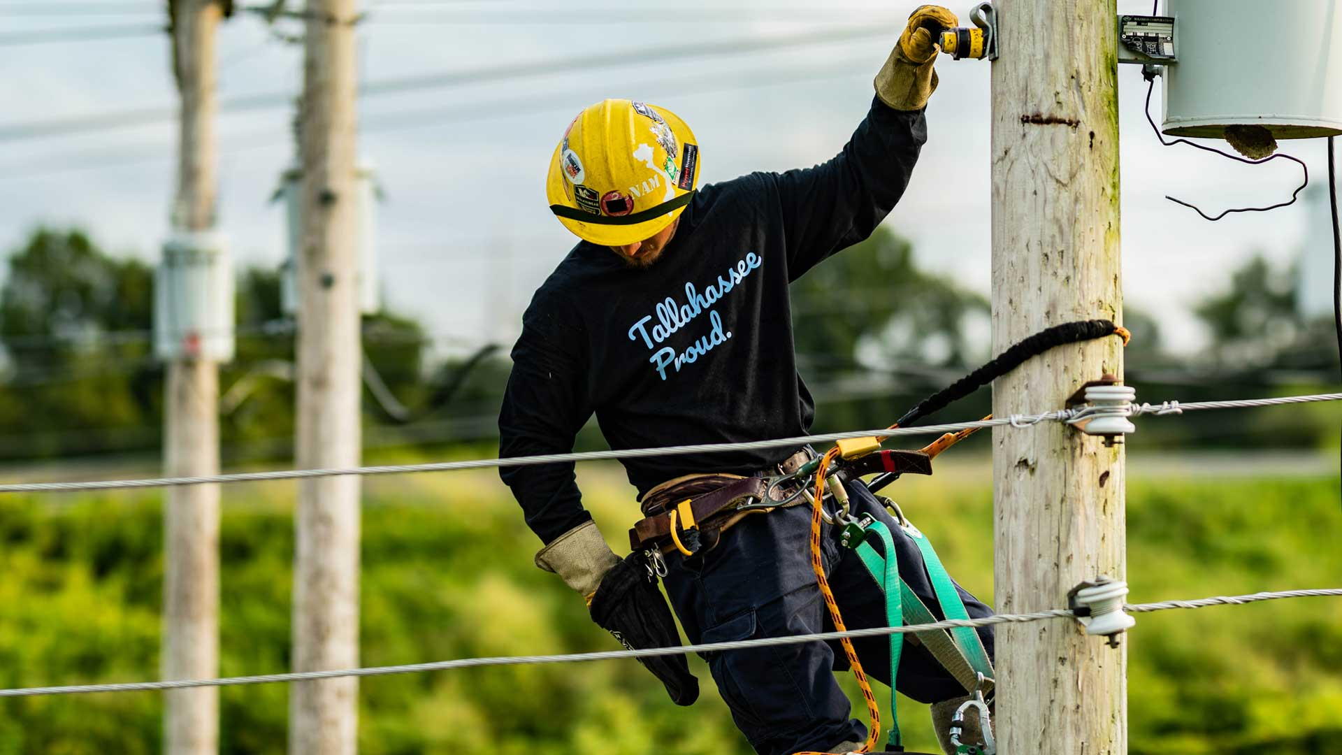 A lineman wearing a Tallahassee Proud shirt works on an electrical pole.
