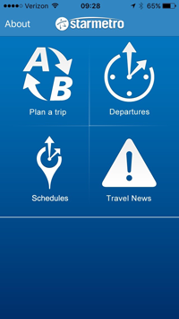 Trip Planner app screenshot showing app functions